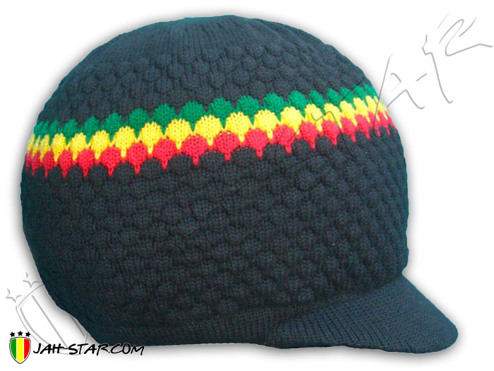 Bonnet Rasta Roots Reggae Dreadlocks Peace & Love avec visière