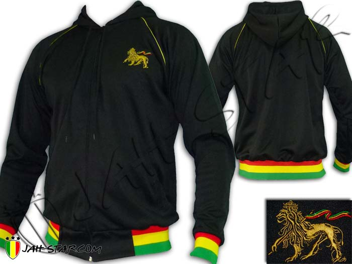 Jacket Hoodie Rasta Reggae Roots Rock Bob Marley Lion Embroidered