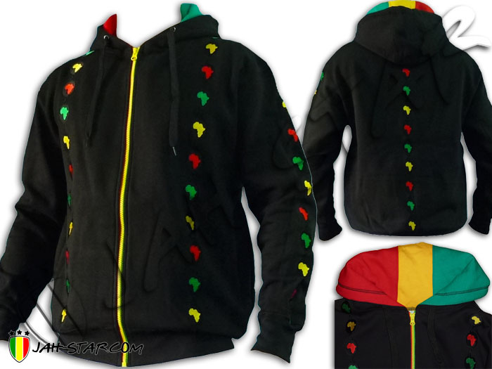 Jacket Jumper Thick Hoodie Rasta Roots Africa Logo Embroidered Zip Rasta