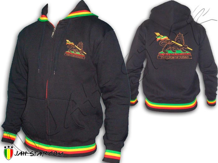 Jacket Jumper Thick Hoodie Rasta Lion Of Judah Embroidered