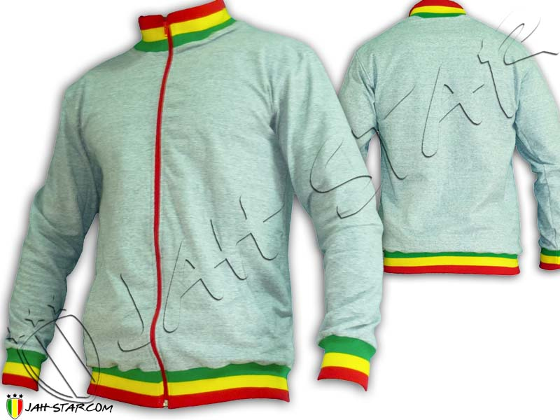 Jacket Rasta Neck Reggae Grey