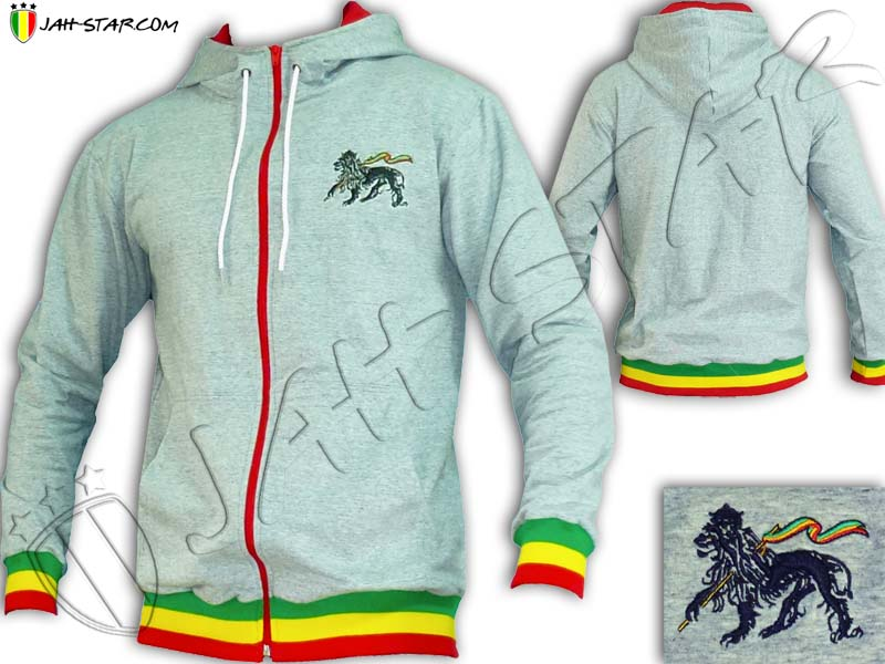 Jacket Hoodie Rasta Reggae Lion Of Judah Grey