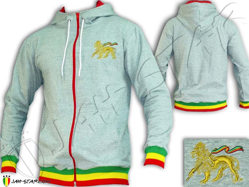 Jacket Hoodie Rasta Reggae Lion Gold Grey