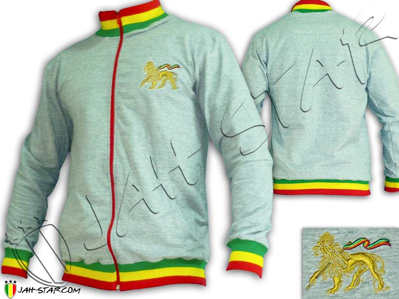 Jacket Rasta Neck Reggae Lion Of Judah Grey