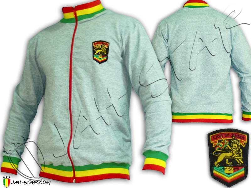 Jacket Rasta Neck Reggae Jah Star Lion Of Judah Grey