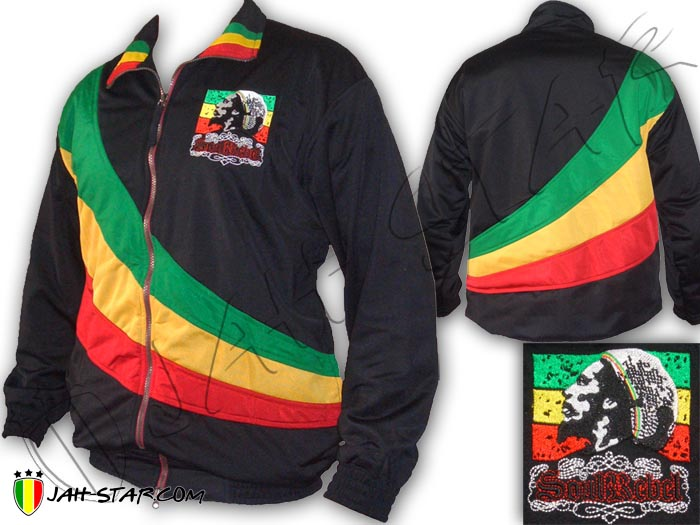 Jacket Double Layer Rasta Reggae Bob Marley Soul Rebel Logo Embroidered