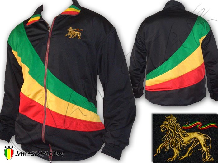 Jacket Double Layer Rasta Reggae Bob Marley Lion Of Judah Logo Embroidered