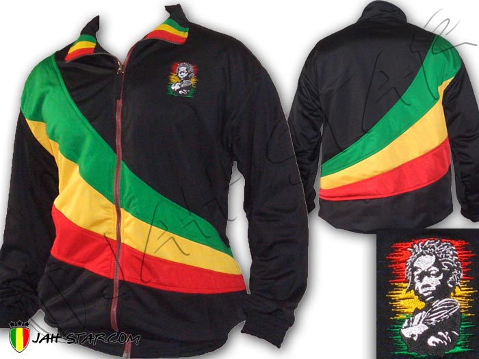 Jacket Double Layer Reggae Bob Marley Rasta Baby Africa Logo Embroidered