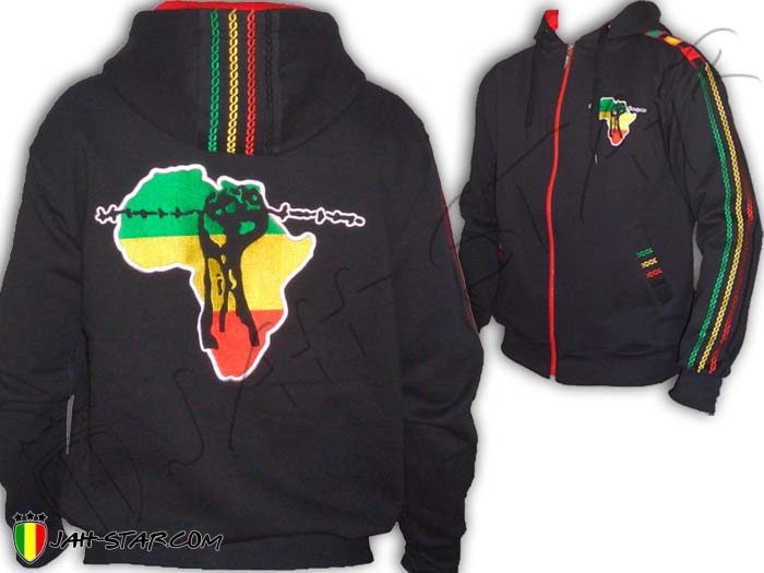 Jacket Jumper Thick Hoodie Rasta Baby Africa Power Freedom Logo Embroidered