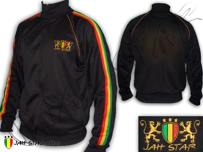 Jacket Rasta Reggae Lion Jah Star Logo Embroidered