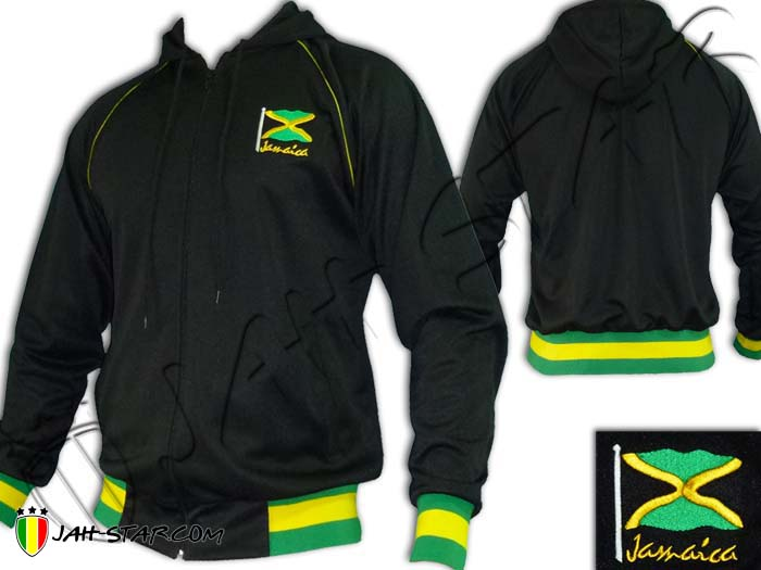 Jacket Hoodie Rasta Reggae Roots Bob Marley Jamaica Logo Embroidered