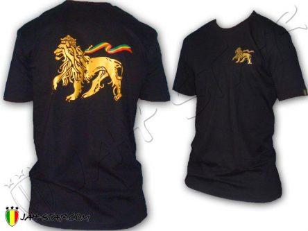 Camiseta Rasta Reggae Rock Conquering Lion of Judah Negro TS150B