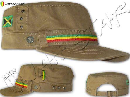 Cap Casquette Rasta Captain Jamaica Flag Beige C125B