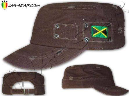 Casquette Cap Rasta Drapeau Jamaica Marron C155M