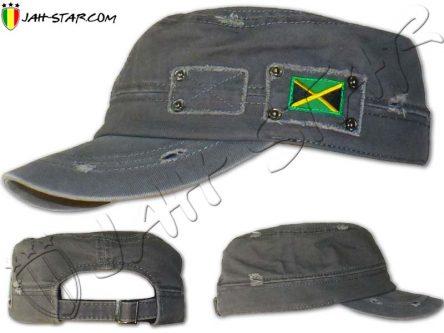 Casquette Style Militaire Rasta Drapeau Jamaica Gris
