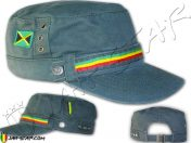 Gorra Militar Rasta Casquillo Bandera de Jamaica Gris
