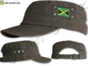 Rasta Military Cap Jamaica Flag Kaki