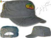 Rasta Military Cap Lion Of Judah Grey