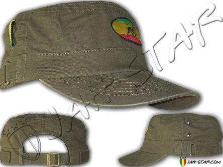 Rasta Military Cap Lion Of Judah Kaki
