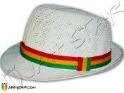 Chapeau Fedora Rasta Reggae Blanc