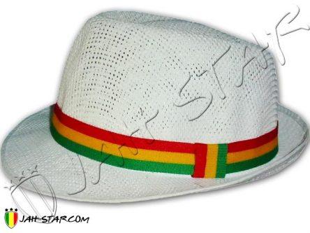 Rasta Fedora Hat Bob Marley White Trilby Hat