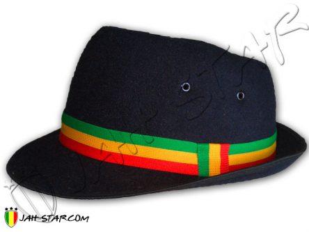 Rasta Fedora Hat Bob Marley Black H250