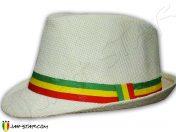 Chapeau Fedora Rasta Reggae Blanc Taille Unique