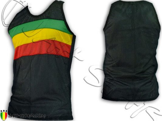 Debardeur Mesh Tank Top rasta reggae roots Jah Star Bob Marley Rastafari D105B