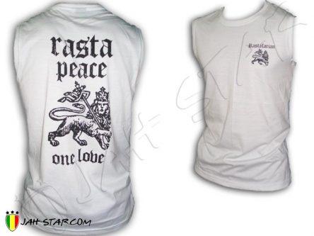 Camisata sin mangas Rasta Reggae Peace & Love One Love Jah Live Blanco D184W