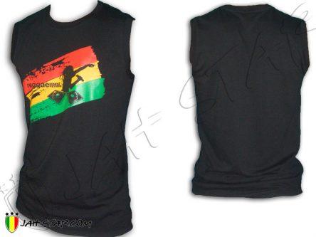 Camisata sin mangas Rasta Reggae Roots DJ Sound System Jamaican Negro D338B
