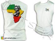 Debardeur Tank Top ropa singlet abbigliamento vetment sin mangas rasta Africa Baby sleeveless Lion Of Judah Jah Star White D385W
