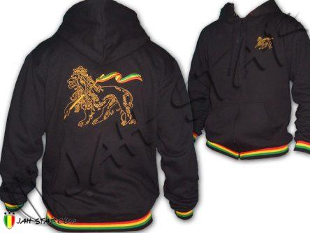 Hoodie Jah Star Wear clothes Kapuzenpullover roupas veste capuche rasta reggae lion of judah Black TJ100B