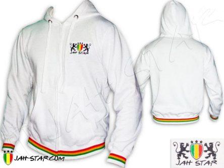 Veste Capuche Rasta Reggae Jah Star Lion Of Judah Brodé TJ105W