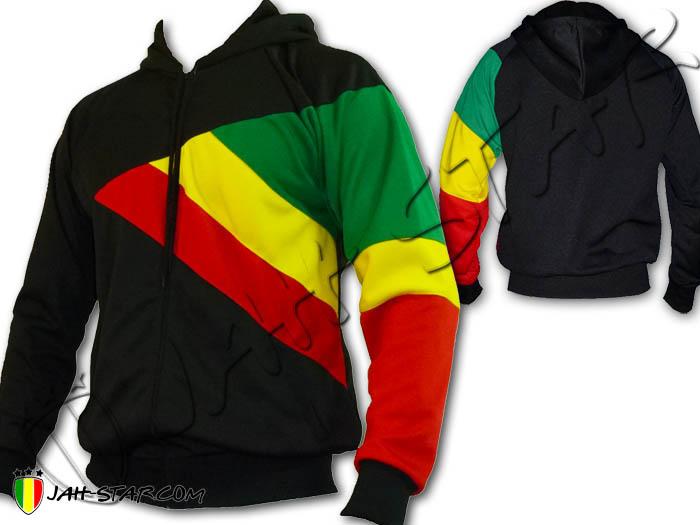 Jacke giacca Jacket Hoodie Veste Capuche Reggae Rasta Africa 3 Couleurs Bob Marley Black J116B