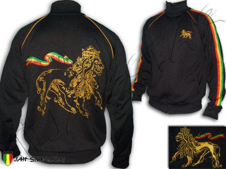 Veste Rasta Conquering Lion of Judah Rastafari Ethiopia Jah Star Noir JB145B