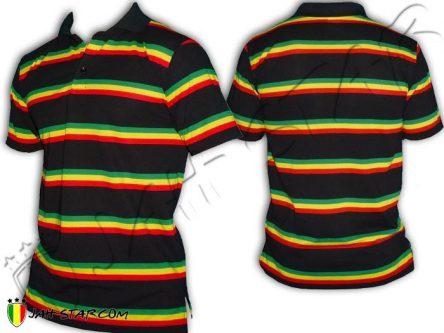 Polo Kleidung ropa shirt roupas Rasta Reggae Rastafari Stripe Bob Marley Black PO115B