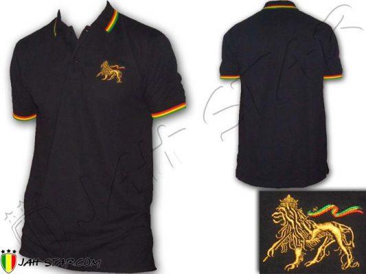 Polo Kleidung vetement Wear ropa roupas shirt rasta Reggae Lion Of Judah Embroidered Rastafari Jamaica Marley Noir PO100B