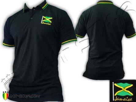 Polo abbigliamento ropa shirt vetement kleidung rasta Jah Star Jamaique Jamaica Logo embroidered Black PO114B