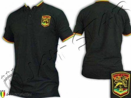 Polo sans col Bob Marley Rasta logo brodé Noir PS108B