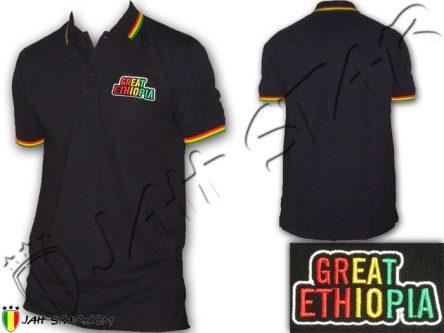 Polo Rasta Great Ethiopia Logo Brodé Ehtiopie Afrique PO106B