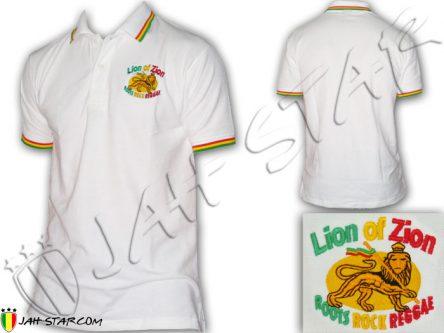 Polo Reggae Rasta Zion Of Lion logo brodé Noir PO107B
