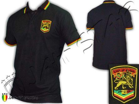 Polo Reggae Rasta Jah Lion Of Judah Logo Brodé Noir PO108B