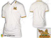 Polo shirt vetment roupas rasta Jah Star Conquering Lion Logo embroidered White PO109W