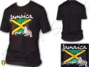 Tee Shirt Kleidung Rasta Reggae Wear Jah Star Jamaica Lion Black TS454B