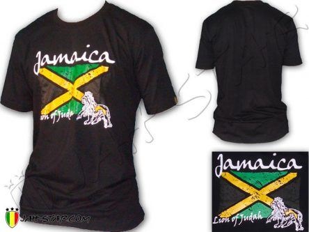 Tee Shirt Rasta Reggae Rock Lion Jamaica Bandera Negro TS454B