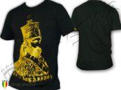 Tee Shirt Rasta Haile Selassie I Portrait Roi Ethiopie Noir TS137B