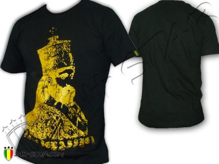 T Shirt Rasta Jah Star Haile Selassie Africa Black TS137B