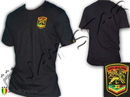 Tee Shirt Rasta Lion Jah Star Logo Bordada TS108B