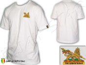 Tee Shirt Rasta abbigliamento Wear Reggae Jah Star Conquering Lion Of Judah White TS109W