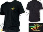 Tee Shirt Rasta Reggae Wear Jah Star Logo Bordada Negro TS103B